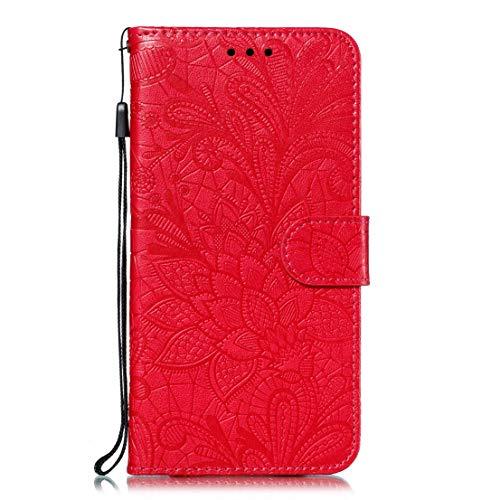 Gelusuk Kompatibel mit Handyhülle Samsung Galaxy A51 Flip Hülle Magnet Wallet Klapphülle PU Leder Tasche Case Silikon Bumper Schutzhülle für Samsung Galaxy A51,Red