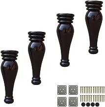 ZJZ Pack van 4 massief houten bankvoeten,Houten broodvoeten,Ronde vervangende meubelpoten,met montageplaat,18cm