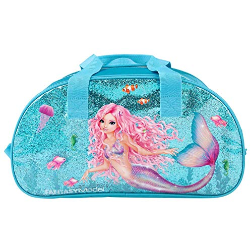 Depesche 11048 Sporttasche, Fantasy Model Mermaid, blau, ca. 43 x 15 x 23 cm