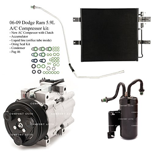 2006 2007 2008 2009 Dodge Ram 2500 3500 5.9L Diesel New A/C AC Compressor kit with Condenser 1 Year Warranty
