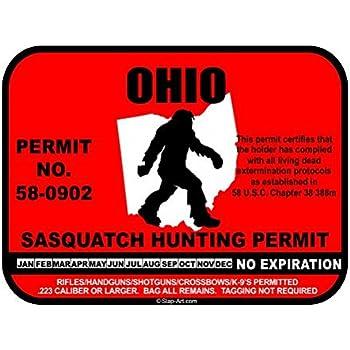 JS Artworks Ohio Sasquatch Hunting Permit License Bigfoot Vinyl Sticker Decal