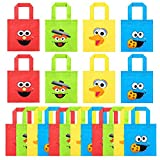 PANTIDE 20 Packs Sesame Non-Woven Party Favor Bags, Elmo Monster Reusable Candy Treat Tote Bags with Handle, Sesame Themed Gift Bags Party Decorations for Kids Birthday Baby Shower, 4 Styles