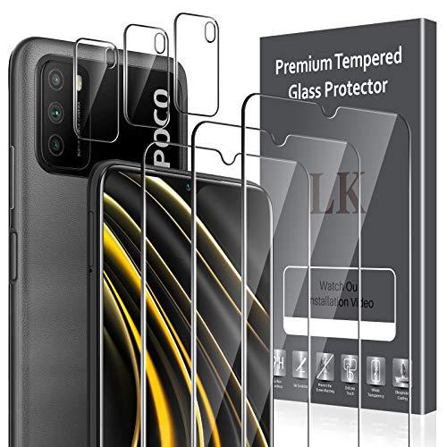 LK Compatible con Xiaomi Poco M3 Protector de Pantalla,3 Pack Cristal Templado y 3 Pack Protector de Lente de cámara, Doble protección