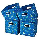 i BKGOO Cajas de almacenamiento plegables Juego de 4 cajones de tela Organizador con asas metálicas dobles para estante Estante de armario Rayas Azul cielo dinosaurio 26,5x26,5x28 cm
