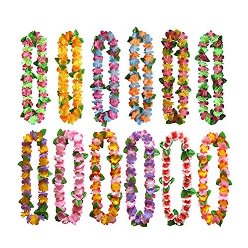 Tanant 12 unidades hawaianas hawaianas tropicales para fiestas, hojas verdes, flores y flores, guirnaldas, playa, vacaciones, bodas, cumpleaos, fiestas, suministros de decoracin