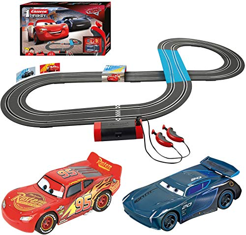 Carrera First Disney/Pixar Cars 3 - Slot Car Race Track - Includes 2 Cars: Lightning McQueen and Jackson Storm - Battery-Powered Beginner Racing Set for Kids Ages 3 Years and Up