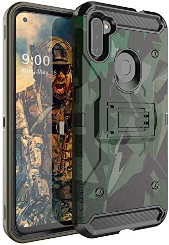 YVPro Samsung Galaxy A11 Case Kickstand Three Layer Heavy Duty Shockproof Protective Camo Cover product image