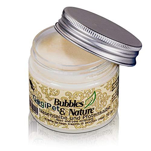 Bubbles & Nature Hunde Pfotensalbe und Nasen-Salbe - Hochwertiger Pfotenschutz für Winter und Sommer - Pfotenbalsam für die Pfotenpflege von Hunden - Schnauzen Balsam (50CC)