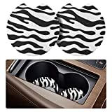 tifanso 2 Pack Car Coasters for Drinks Absorbent - 2.75 inch Car Cup Holder Coasters, Removable Car Coasters for Women, Zebra Rubber Car Drink Coasters, Cute Car Accessories for Women and Lady