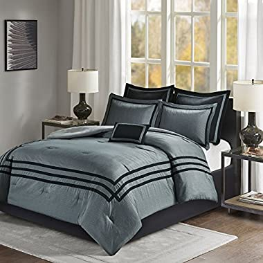 Comfort Spaces - Adelia Comforter Set - 7 Piece – Grey and Black - King Size, Includes 1 Comforter, 2 Shams, 1 Bedskirt, 2 Euro Shams, 1 Decorative Pillow