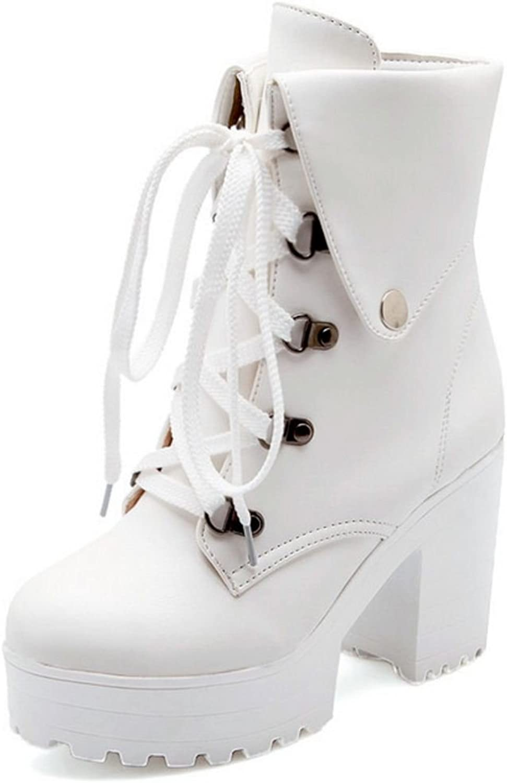 CarziCuzin Women Block High Heel Collar Cuff Boots Elegant Lace-up shoes