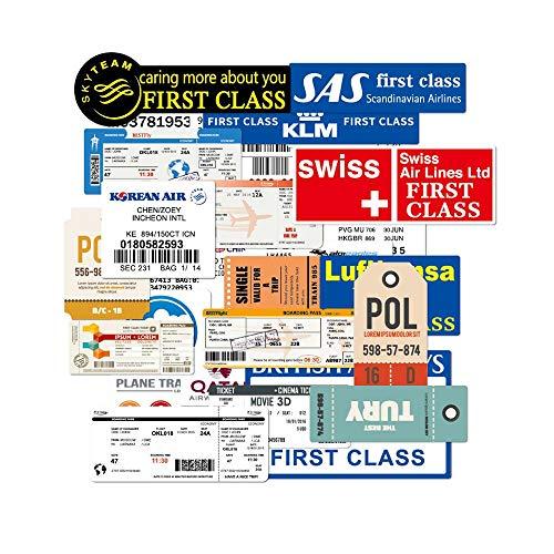YGBV Pegatinas Divertidas para Billetes de avión, Tarjetas de embarque de Viaje, Pegatinas para Billetes de avión, calcomanías para Maleta, portátil, Equipaje, Coche, 100% 30 Uds.