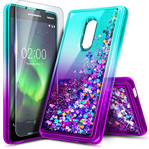 NageBee Case for Nokia 3 V (Verizon) /Nokia 3.2 (2019) with Tempered Glass Screen Protector, Glitter Liquid Bling Floating Waterfall Durable Girls Women Kids Cute Phone Case -Aqua/Purple
