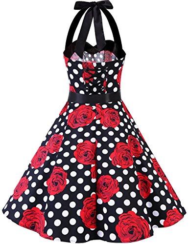 Dresstells Neckholder Rockabilly 1950er Polka Dots Punkte Vintage Retro Cocktailkleid Petticoat Faltenrock Black Red Rose Dot M - 3