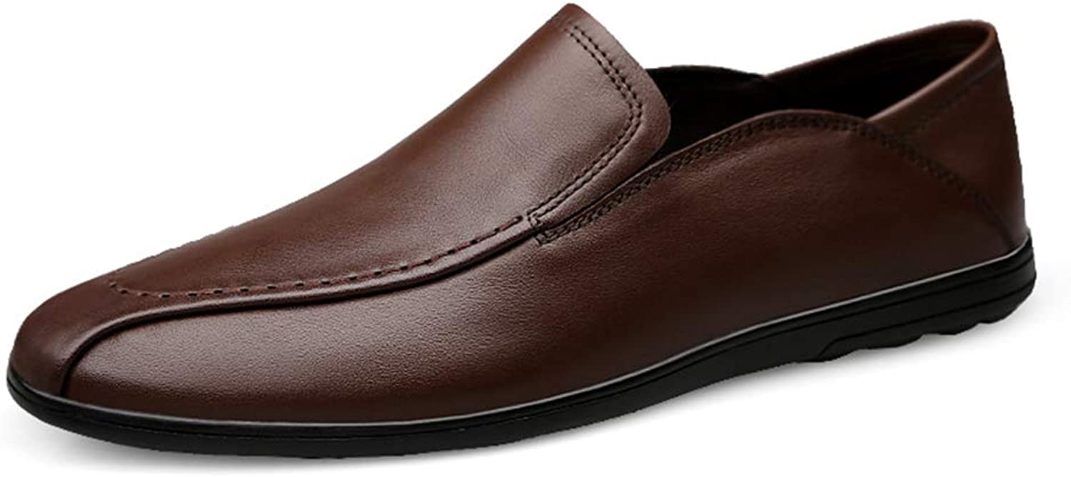 2019 Men's shoes Loafers Slip on Men Drive Loafers, Casual Comfortable And Breathable Soft Pure color Boat Moccasins (color   DarkBrown, Size   5 UK)