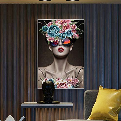 Arte de la pared de la mujer de la flor nórdica impresión en lienzo cartel abstracto pintura decoración imagen escandinava decoración moderna para sala de estar 40x50cm