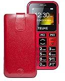 Original Favory Etui Tasche für / Emporia TELME C150 / Leder Etui Handytasche Ledertasche Schutzhülle Hülle Hülle Lasche mit Rückzugfunktion* In Rot