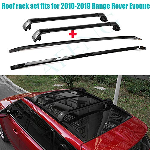 LAFENG Juego de barras de techo para Land Rover Range Rover Evoque 2010-2019, 4 piezas portaequipajes y juegos de barras transversales.