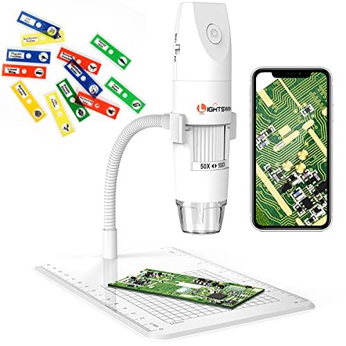 Microscopio digitale wireless, Lightswim 50~1000x Mini microscopio tascabile portatile Ingrandimento con videocamera HD 1080P 2MP, 8 luci a LED per iPhone iPad Smartphone Tablet PC (bianco)