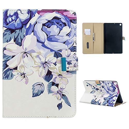 Cestor Hülle für Samsung Galaxy Tab A 10.1,Blau Blumen Muster Schutzhülle Stoßfest Ständer Magnetisch Leder Tasche mit Kartenfacher mit Auto Schlaf/Wach Funktion für Galaxy SM-T510/T515