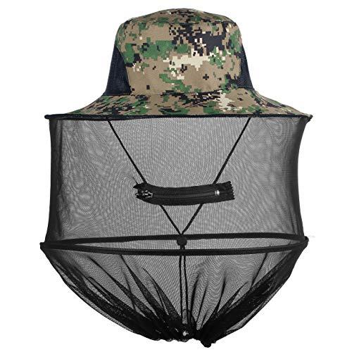 Mogokoyo Moskito Kopfnetz Hut Unisex Sonnenhut Fischerhut Dschungel Koft Schutz Bienenhut für Outdoor Gartenarbeit (Grüne Digitale Tarnung)
