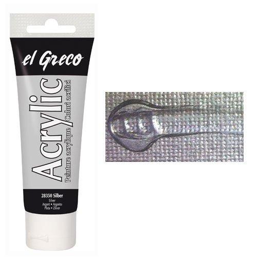 EL GRECO Acrylfarbe Silber 150 ml [Spielzeug]