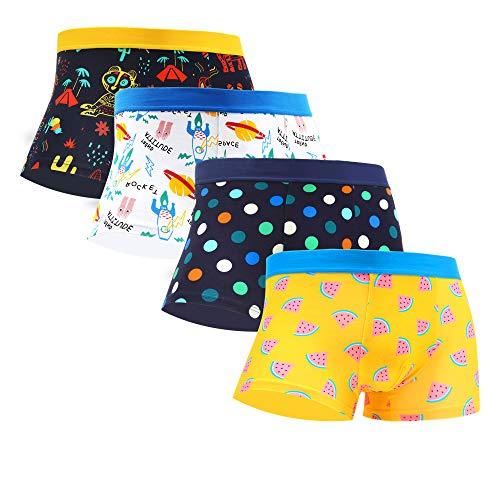 WeciBor Herren Bunte Boxershorts Unterwäsche Baumwolle Lustiges Muster 4 Packungen
