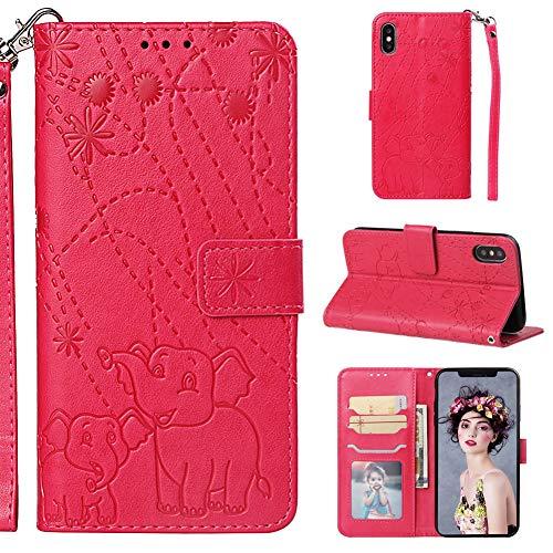XINYIYI Gaufrage Étui en Cuir Coque pour iPhone XS Max,Cuir Wallet Flip Cover Protection à Rabat Fonction Stand Support et Carte de Crédit Slot Case avec Magnétique- Rose Rouge