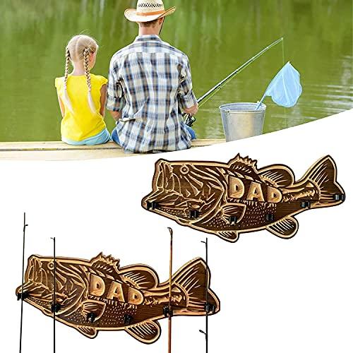 DJLOOKK 2021 nuevos bastidores para cañas de Pescar, Soporte de Madera para cañas de Pescar de Boca Grande, Soporte para cañas de Pescar montado en la Pared con Soporte para 6 cañas