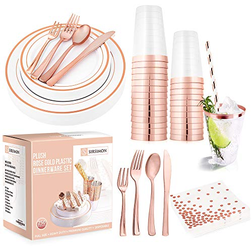 SIRSIMON 250 Piece Disposable Rose Gold Plastic Tableware Set - 50 Rose Gold Plastic...