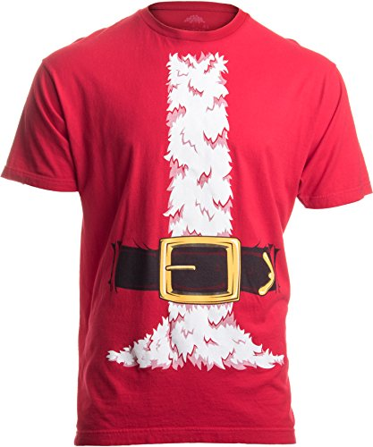 Santa Claus Costume | Jumbo Print Novelty Christmas Holiday Humor Unisex T-Shirt-Adult,XL Red