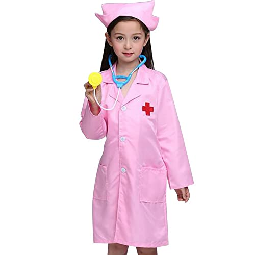 15ce2518af0 TOPTIE Kids' Long Sleeve Doctors Uniform, Children Costume Lab Coat & Cap