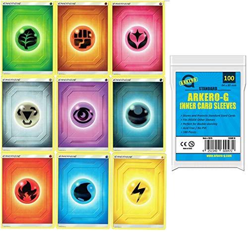 Pokemon 45 Basis Energiekarten Sammlung - 5 Stück je Sorte Energy Cards +100 Arkero-G® Standard Soft Sleeves (100 Kartenhüllen)