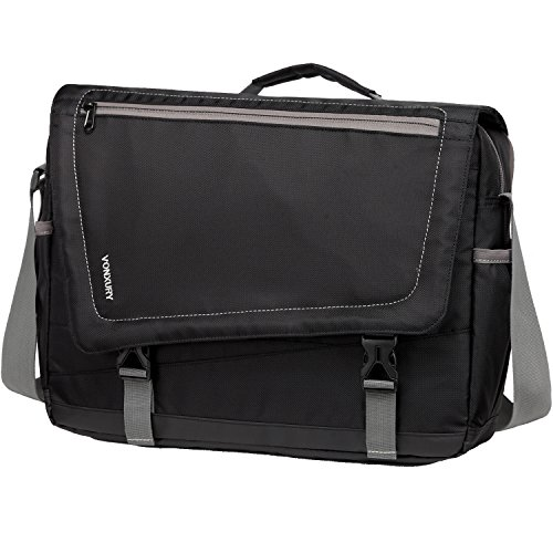 Messenger Bag for Men, Lightweight Water Resistant 15.6 In Laptop Bag School Office Shoulder Bag by Vonxury Black