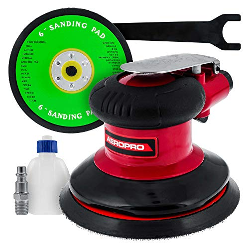 TCP Global Professional Heavy Duty 6' Dual-Action Random Orbit Air Palm Sander with Both PSA and Hook & Loop Backing Pads - Orbital Pneumatic Sanding Disc Sander - Automotive Body Shop, Woodworking