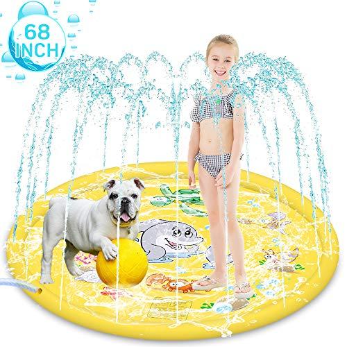 HeiYi Sprinkler for Kids Dogs, 68' Inflatable Splash Pad Sprinkle Splash Play Mat Water Sprinkler Pad Outdoor Sprinkler Mat for Babies Toddlers Kids