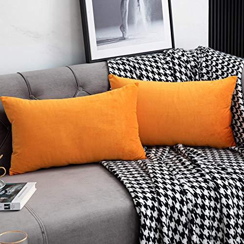 Belle10Bob Juego de 2 fundas de almohada lumbar de terciopelo suave, color naranja, de 30,4 x 50,8 cm, rectangulares, decorativas, fundas de cojín para sofá, sofá, hogar, casa de granja