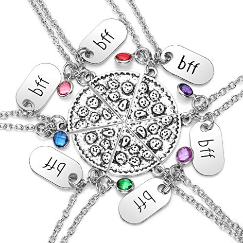 Jovivi Antique Silver Rhinestone Pizza Puzzle Slice BFF Best Friend Forever Friendship Necklace
