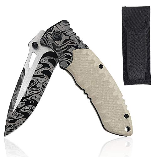 Linsen-outdoors J-10 Jungle Outdoor Folding Knife | Outdoor Survival Pocket Knife | Rescue Knife Made of Stainless Steel Blade and G10 Handle
