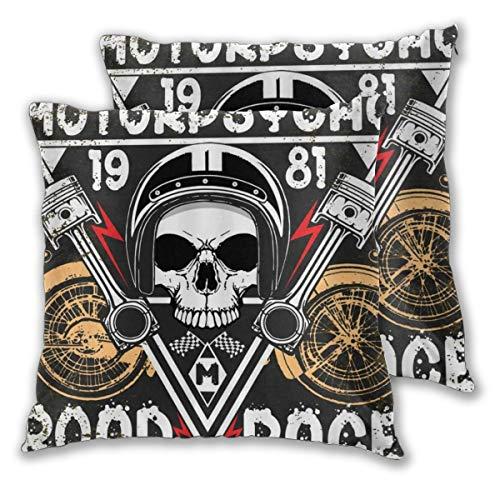 KASABULL 2 Pack Funda de Almohada Sugar Skull Creative Skull Sketeton Motor Road Race Lino Suave Cuadrado Sofá Cama Decoración Hogar para Cojín 30cm x 30cm