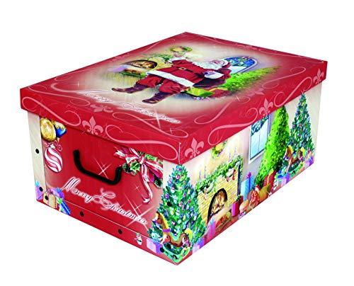 Kreher XXL Dekokarton mit tollem Weihnachtsmotiv Weihnachtsmann - kräftige Rote Farben und XXL Volumen!