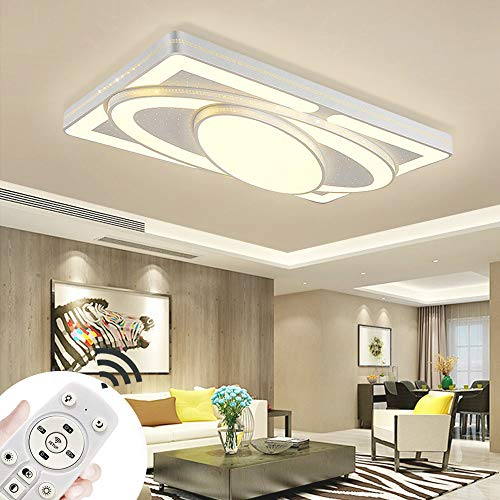 MIWOOHO 90W LED Dimmbar Deckenleuchte Deckenlampe Modern Panel Leuchte für Schlafzimmer Esszimmer Wohnzimmer mit Fernbedienung [Energieklasse A++]