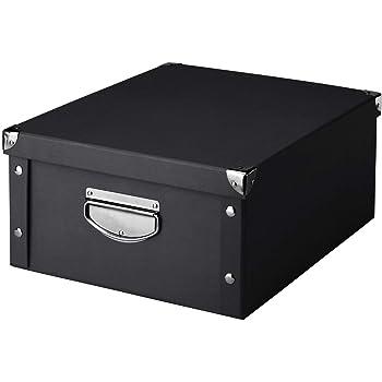 Zeller 17928 Caja de almacenaje de cartón Negro (Schwarz) 40 x 33 ...