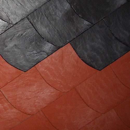 Kunststoff Schindeln halbrund für Dacheindeckung und Fassadenverkleidung (Anthrazit-schwarz-Bogen links)