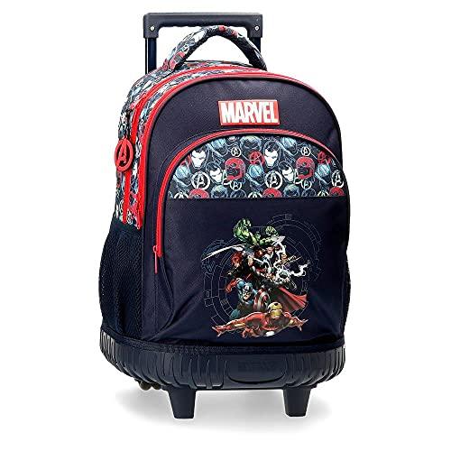 MARVEL Avengers Team Zaino Compact 2 ruote Blu, 34 x 44 x 21 cm, Poliestere, 31.42 l
