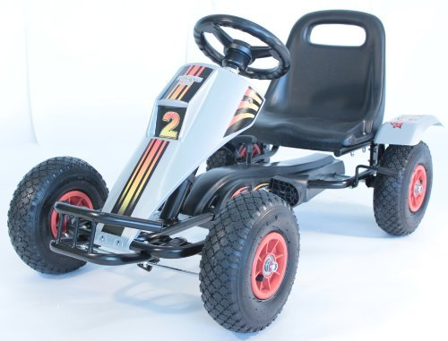 Max Terrain Kids Go Kart - Robust Steel Frame Sturdy Steel Construction with Rubber inflatable Tyres - Pedal Go kart - 3 - 6 years