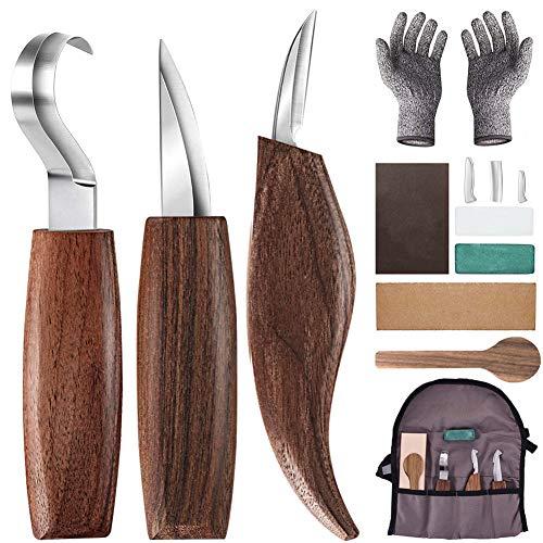 Holz-Schnitzwerkzeug Set, 10 Teiliges Holz Schnitzmesser mit Schleifsteine, Professional Holzschnitzerei Messer Werkzeuge ideales Schnitzmesser-Set für Anfänger und Profis mit Schnittfeste Handschuhe