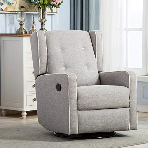 Rocker Recliner Chair, Nursery Glider Chair, Nursery Rocking Chairs, Manual Reclining Chair, Grey