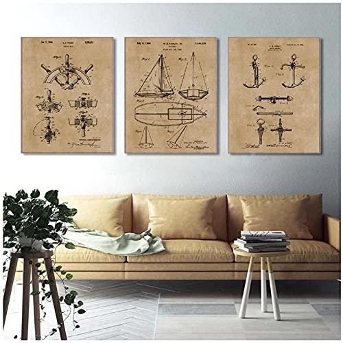 YQQICC Póster con estampado de patente de velero vintage regalos de marinero ancla de yate rueda de barco modelo náutico arte de pared lienzo pintura-40x50cmx3 Sin marco