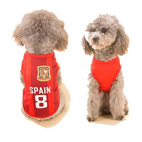 SymbolLife Hondenkleding Voetbal T-shirt Honden Kostuum Nationale Voetbal World Cup FIFA Jersey voor Huisdier Spanje, XXXXL, Rood